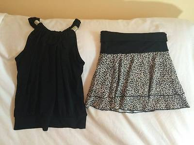 Leopard Print Girls Size 12 / 14 Skirt / Tank Top Outfit - Trendy Style
