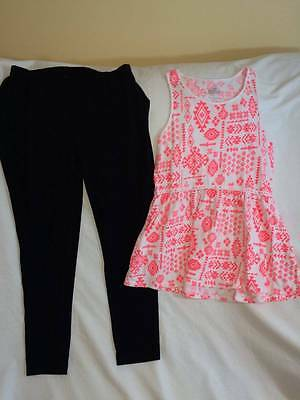 Justice Girls Size 14 / 16 Long Style Top / Leggings Outfit - Cute Style