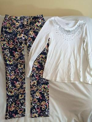 Justice Girls Size 14 Floral Denim Pants / White Sparkle Top Outfit