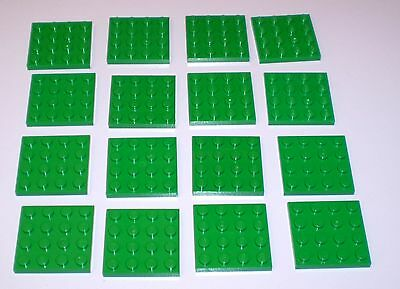 16 Used Lego 4 x 4 Green Plates  3031