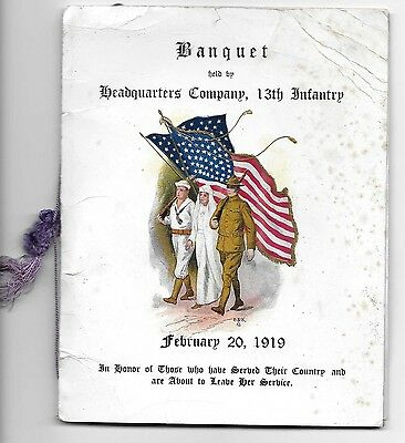 1919 World War I Banquet Program, Headquarters Company, 13th Infantry