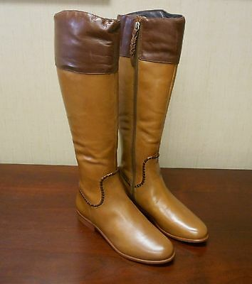 G2602 New Jack Rogers Women's Mercer II Leather Riding Boots Oak 7.5M