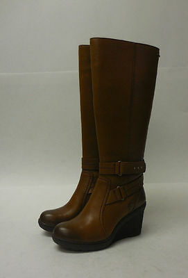 M5081 New Women's Clarks Natira Kae GTX Brown Leather Zip Boots 6.5 M