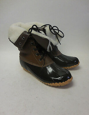 J4391 New Women's Boston Accent Kylee Brown/Black Winter Boot 7 M