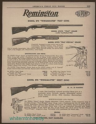 1957 REMINGTON Model 870 Wingmaster Trap/Skeet SHOTGUN AD w/ specs & prices