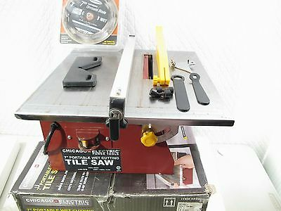 Tile Wet Saw With Diamond Blade 4550 Rpm 3/4 Hp Motor Chicago Tools Good Quality