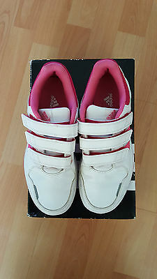 Girls Adidas Leather Trainers White/Pink Buzz - velcro fastening - size 3