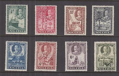 NIGERIA, 1936 KGV set of 8 to 1s., lhm.