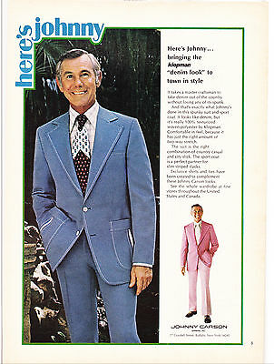 "Original Print Ad-1973 JOHNNY CARSON-Here's Johnny…. the klopman ""denim look"""