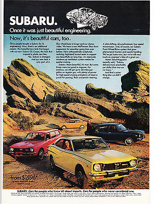 Original Print Ad-1973 SUBARU-cars who know all about imports-4 Models in Desert