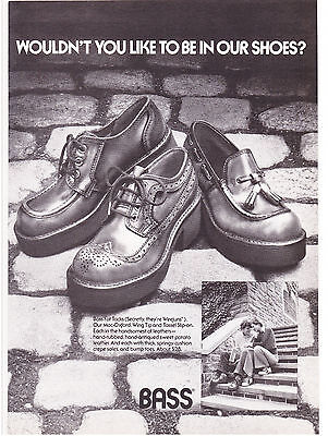 Original Print Ad-1973 Wouldn't you like to be in our SHOES? BASS Fat Tacks B&W