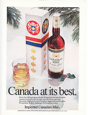 Original Print Ad-1975 IMPORTED CANADIAN MIST WHISKY-Canada at its best-Holiday
