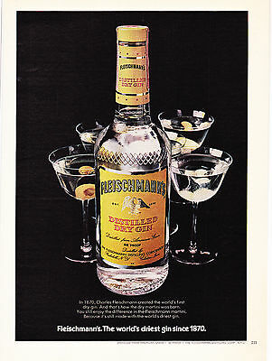 Original Print Ad-1974 FLEISCHMANN'S The World's Driest GIN Since 1870-Martini