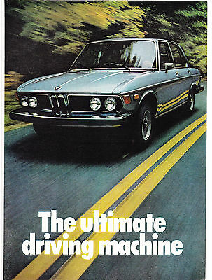 Original Print Ad-1975 BMW-The Ultimate Driving Machine-Blue Car/2 Lane Highway