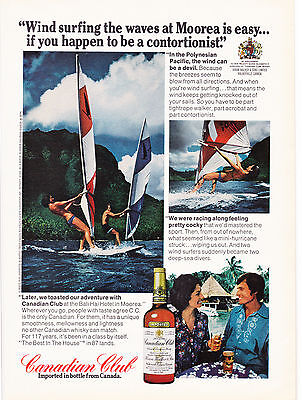 Original Print Ad-1975 CANADIAN CLUB WHISKY-Wind Surfing  the Waves at Moorea…