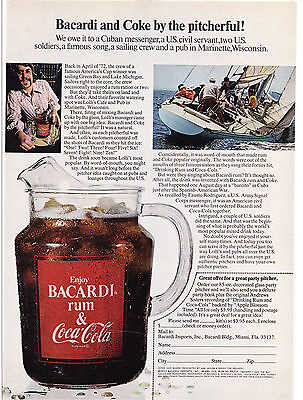 Original Print Ad-1973 BACARDI and COKE by the Pitcherful-Glass Pitcher Offer