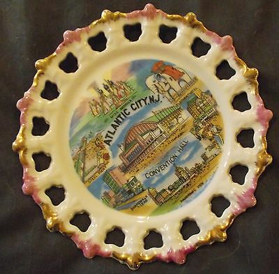 Vintage Atlantic City NJ   State Travel Souvenir Collector  Reticulated Plate