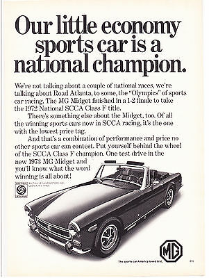 Original Print Ad-1973 MG MIDGET Our Little Economy Car Is A National Champion.