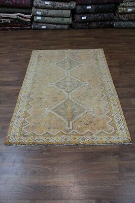Vintage Gold Geometric Handmade Shiraz Persian Rug Oriental Area Carpet 5X8