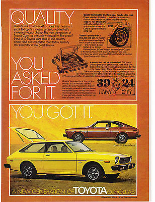 Original Print Ad-1976 QUALITY. YOU ASKED FOR IT. YOU GOT IT. TOYOTA COROLLA SR5