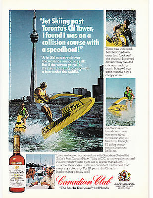 Original Print Ad-1976 Canadian Club Whisky-Jey Skiing past Toronto's CN Tower…