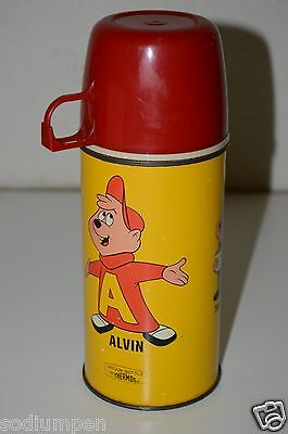 Nice Vintage 1963 Alvin And The Chipmunks Metal Thermos for Lunchbox RARE C9