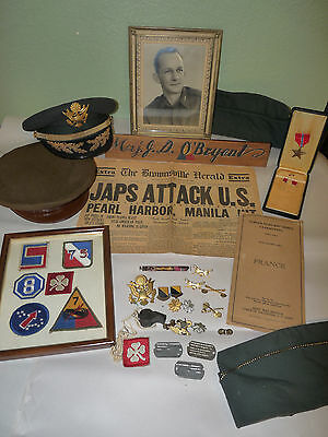 Wwii Seventh Armored Division Lot Group Lot Patch Photo Medal Hat Pearl Harbor