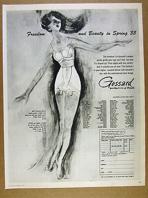1955 Gossard Pantie Girdle Bra fashion drawing illustration art vintage print Ad