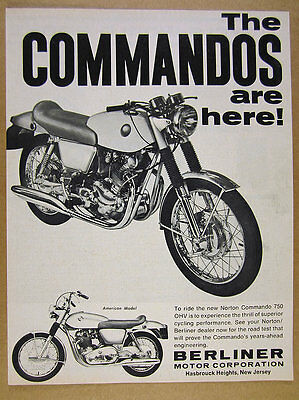 1968 Norton Commando 750 OHV motorcycle photo vintage print Ad