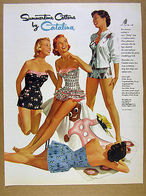 1955 Summertime Cottons by Catalina girls swimsuits fashion art vintage print Ad