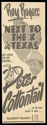1950 Roy Rogers photo Peter Cottontail song release vintage music trade ad