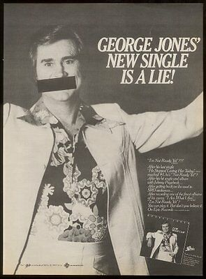 1980 George Jones photo Not Ready Yet song release trade print ad
