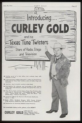 1954 Curley Gold photo concert booking vintage print ad