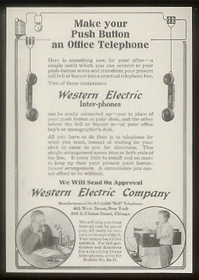 1914 Western Electric push button office telephone vintage print ad