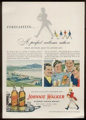 1948 Scotland Hunter's Quay art Johnnie Walker Scotch vintage print ad