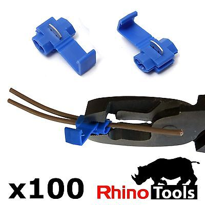 100 X Blue Quick Splice Connectors Automotive Wire Joiners Scotch Lock Terminals