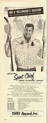 1950s vintage men's fashion Ad, Sport-Chief JACKET, Snowflake and Skier -010414