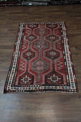 Nice Antique Geometric Shiraz Fars Wool Persian Rug Oriental Area Carpet 5X8