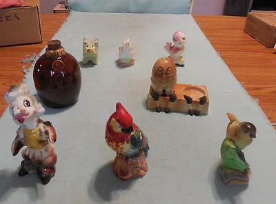 8 Vintage Single Salt Peppers Group Hull Chicken Bird Dogs Humpty Dumpty