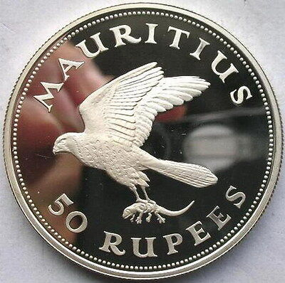 Mauritius 1975 Kestrel 50 Rupees 1oz Silver Coin,Proof
