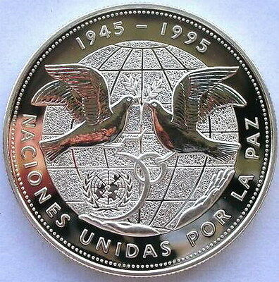 Dominican 1995 United Nations 1 Peso Silver Coin,Proof