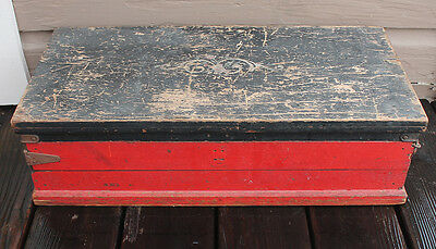 c1920s Antique Vintage Wooden Wood Toy Buddy L Tool Chest Box