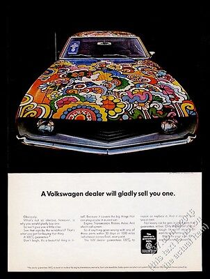 1970 VW Volkswagen psychedelic color used car photo vintage print ad