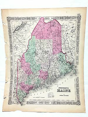 1864 Johnson's Family Atlas Antique Hand Colored Map Maine United States