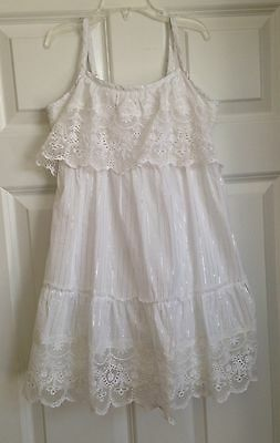 NWT $39 Girls 8 JUSTICE White Silver Striped Lace Party Sundress Easter Dress