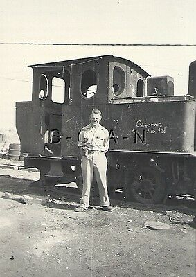 WWII Original US Army PTO RP- Soldier Stands in front of Japanese Train- Okinawa