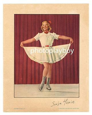 Sonja Henie Olympic Skating Actress Original Printed Color Movie Portrait 1938
