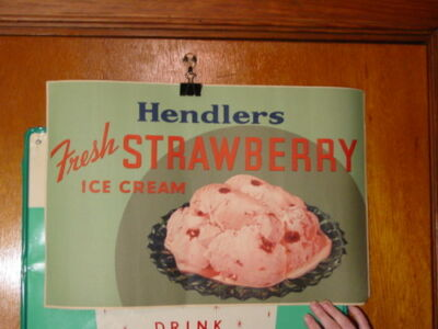 Vintage Hendlers Fresh Strawberry Ice Cream Advertising Paper Sign