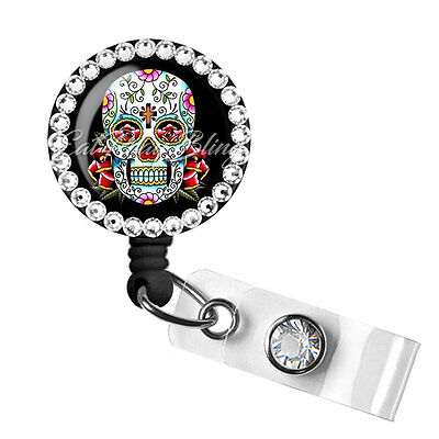 Retractable Badge Reel Name Tag ID Pull Clip Holder Lanyard Sugar Skull Muertos