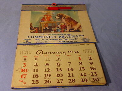 Vintage 1954 Community Pharmacy Homestead PA B&B Want Some Top Calendar